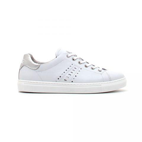Sneaker Donna Nero Giardini in Pelle Bianca con Strass - P907571D707