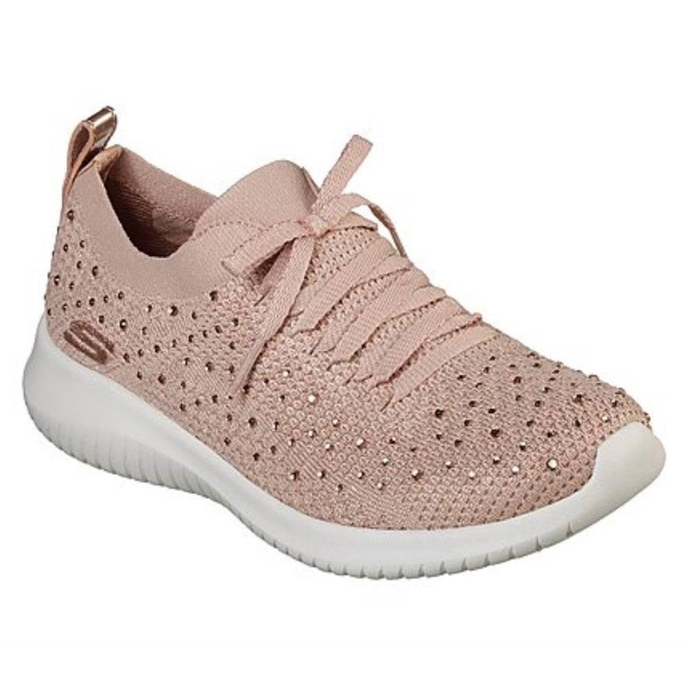 Sneaker Donna Skechers in Tessuto Rosa con Strass