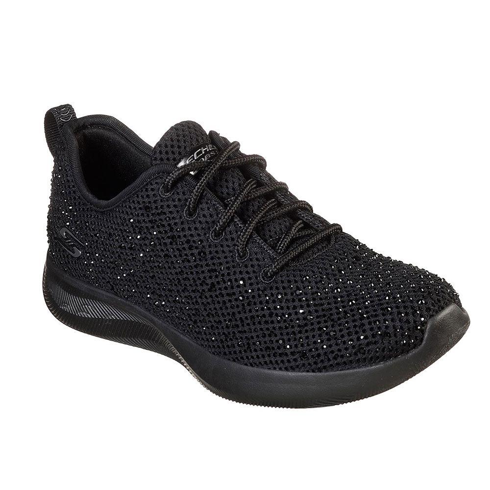 Sneaker Donna Skechers in Tessuto Nero con Strass