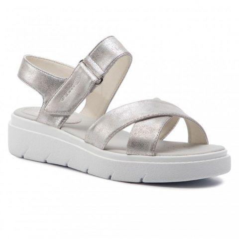 Sandalo Donna Geox in Ecopelle Argento - D92DLE000PVC1002