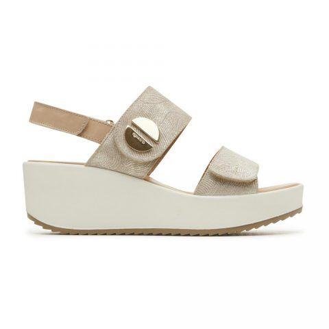 Sandalo Donna Igi&Co in Camoscio Laminato con Zeppa Platino - 3173399
