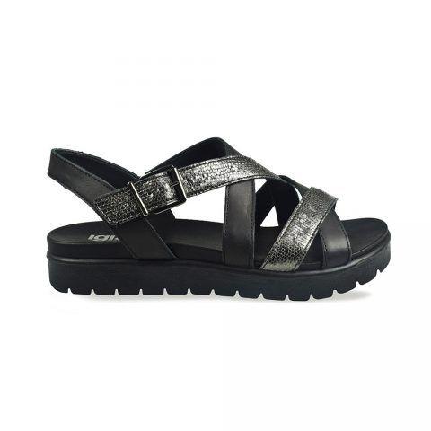 Sandalo Donna Igi&Co in Pelle Stampata Nero - 3167500