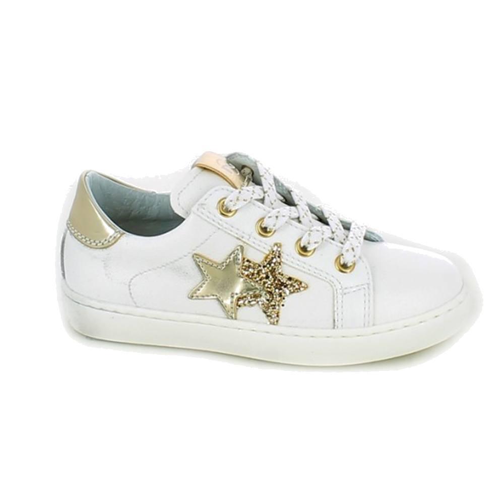 Dettagli su Sneaker Bambina Nero Giardini Junior Bianca con Stella Oro P930856F707