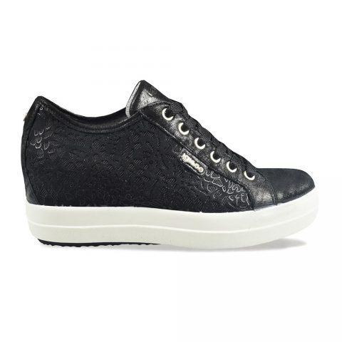 Sneaker Donna Igi&Co in Pelle con Ricami Nera - 3157000