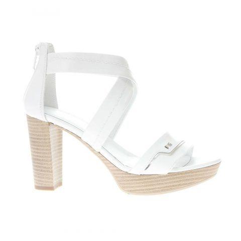 Sandalo Donna Nero Giardini in Pelle Laminata Bianca - P908081D707