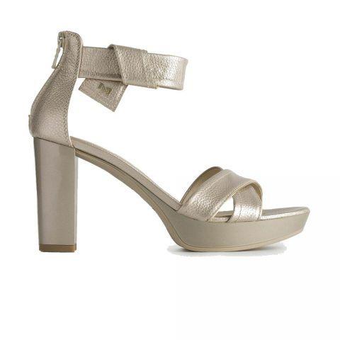 Sandalo Donna Nero Giardini in Pelle Laminata Grigia - P908080D672