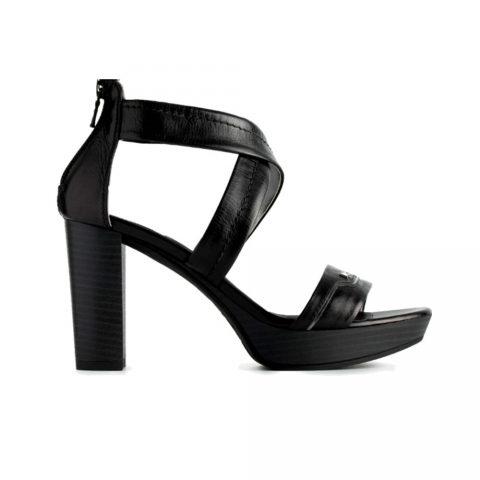 Sandalo Donna Nero Giardini in Pelle Laminata Nera - P908081D100