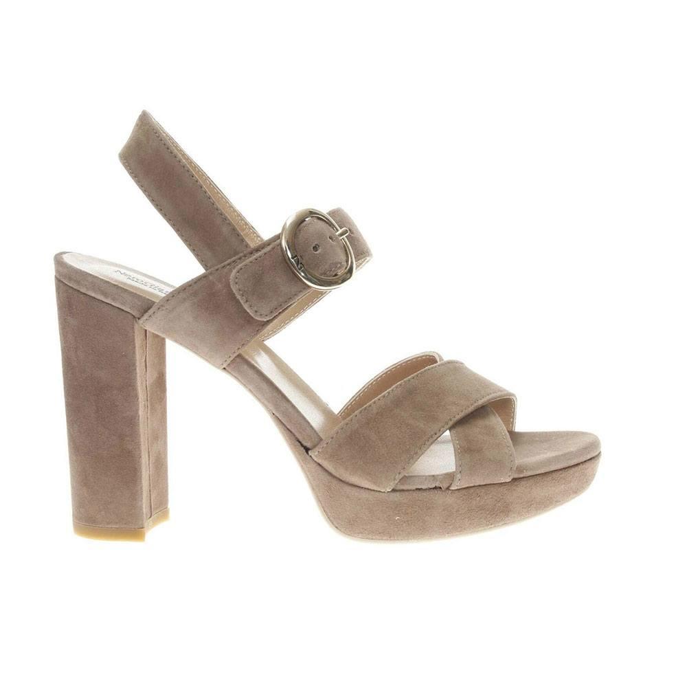 Sandalo con Tacco Donna Nero Giardini in Camoscio Talpa
