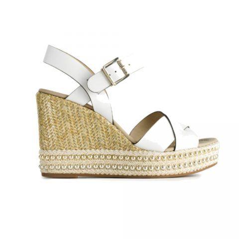 Sandalo con Zeppa Donna Nero Giardini in Pelle Bianco - P908341D707