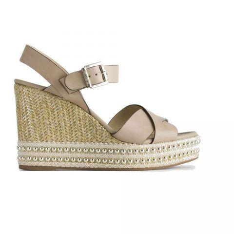 Sandalo con Zeppa Donna Nero Giardini in Pelle Champagne - P908341D439
