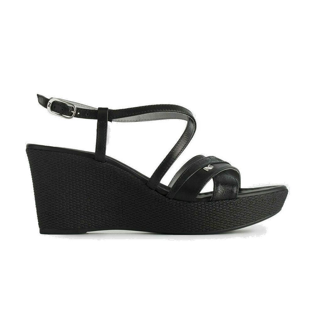 Sandalo Donna Giardini Zeppa Nero Con In Pelle OnP0wk8