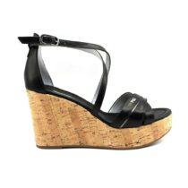 Sandalo con Zeppa Donna Nero Giardini in Pelle Nero - P908141D100
