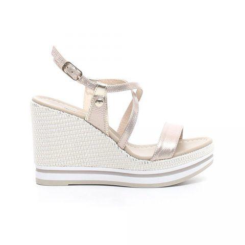 Sandalo con Zeppa Donna Nero Giardini in Pelle Nut - P908331D672