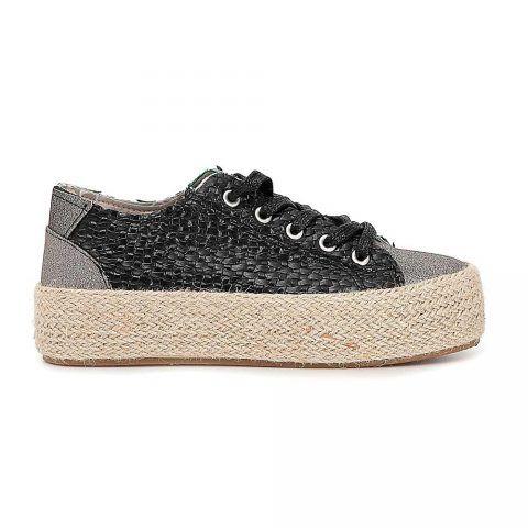Sneaker Donna Cafè Noir Intrecciate con Fondo in Corda Nera - DG922