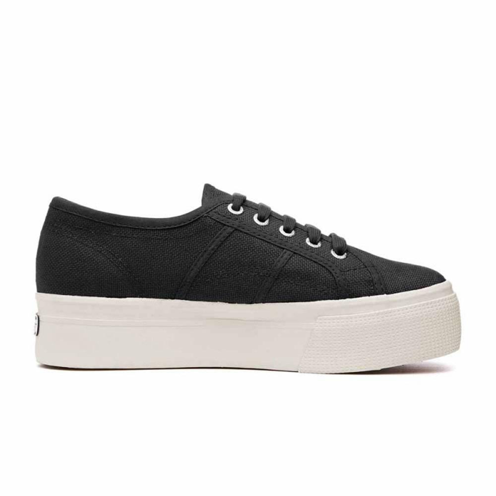 Dettagli su Sneaker Donna con Zeppa Nera Superga S0001L0F83