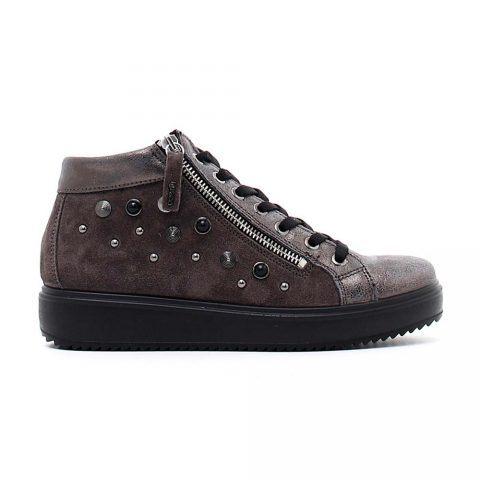 Sneaker Alta Donna Igi&Co in Camoscio con Borchiette Antracite - 4150811