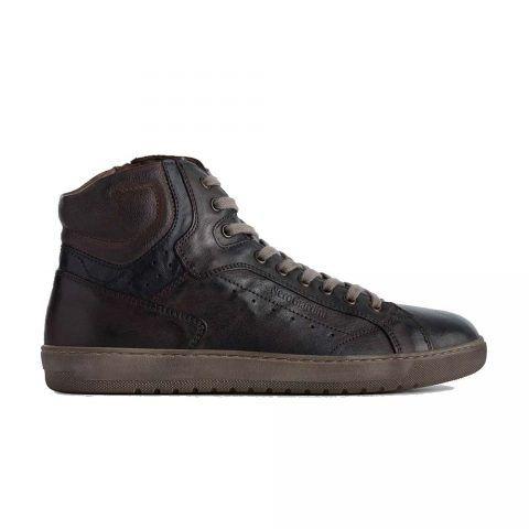 Sneaker Alta Uomo Nero Giardini in Pelle Testa di Moro - A901230U300