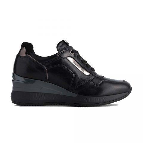 Sneaker Donna Nero Giardini in Nappa e Tessuto - A908861D100