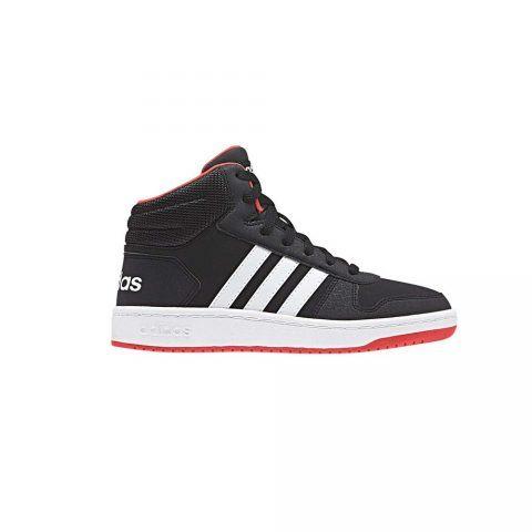 Scarpa Sportiva Bambino Adidas Hoops 2.0 Mid Nera - B75743