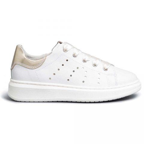 Sneaker Bambina Nero Giardini Teens in Pelle Bianca - E031552F707