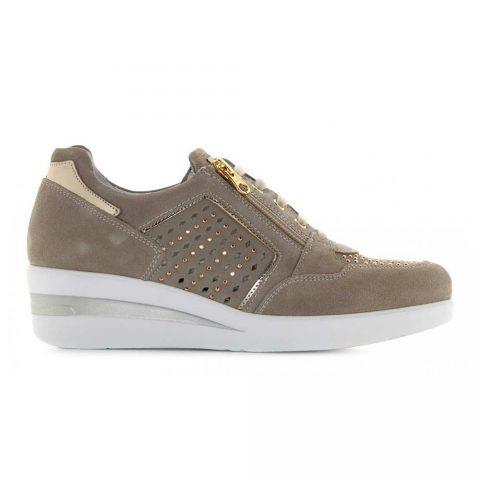Sneaker Donna Nero Giardini in Camoscio Ivory - E010453D702