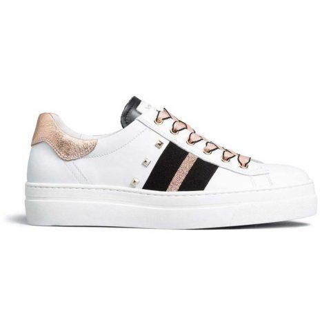 Sneaker Donna Nero Giardini in Pelle Bianca Phard - E010674D707