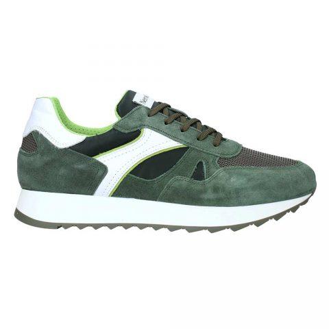 Sneaker Uomo Nero Giardini in Camoscio Oliva - E001503U528