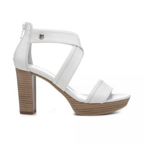 Sandalo Donna Nero Giardini in Pelle Bianca - E012210D707
