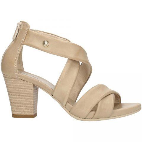 Sandalo Donna Nero Giardini in Pelle Sabbia - E012220D410