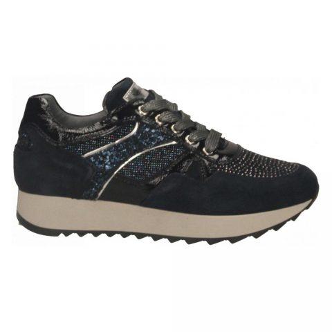 Sneaker Donna Nero Giardini in Camoscio Blu con Glitter - I013190D207