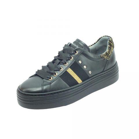 Sneaker Donna Nero Giardini in Pelle Nera e Oro - I013370D100
