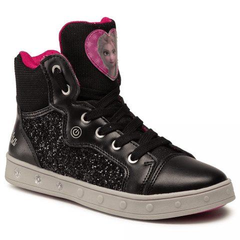 Sneaker Alta Ragazza Geox Skylin Frozen Nera e Fucsia - J048WA0EWNFC0922