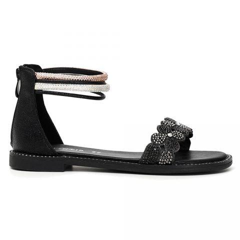 Sandalo Donna Cafè Noir con strass bicolor e cinturino alla caviglia Nero - C1GD9030N007