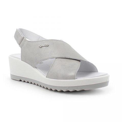 Sandalo Donna Igi&Co con Fasce in Pelle Laminata Grigio - 7163011