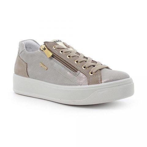 Sneaker con Zeppa Donna Igi&Co in Pelle Laminata Beige - 7156233