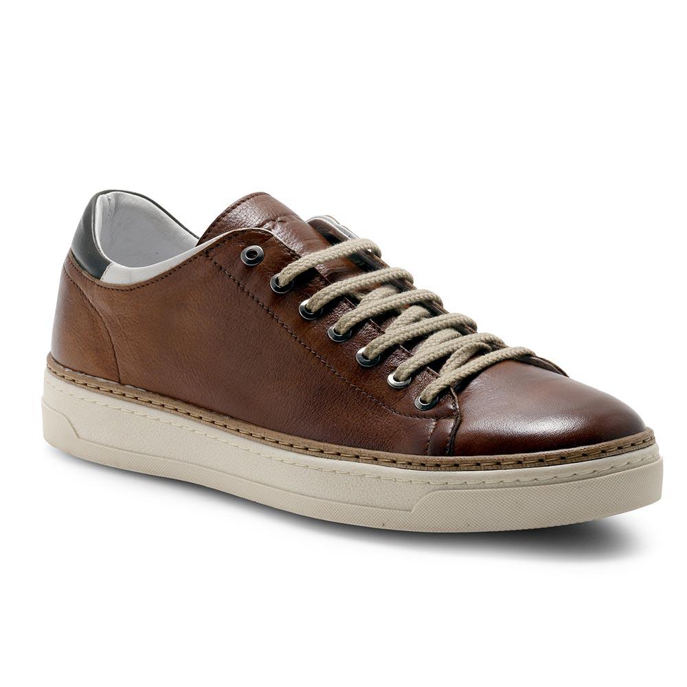 Exton scarpe uomo sneakers basse 757 CUOIO P21