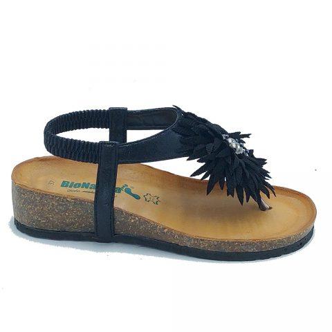 Sandalo Donna Bio Natura in Tessuto Nero - 12PALMA