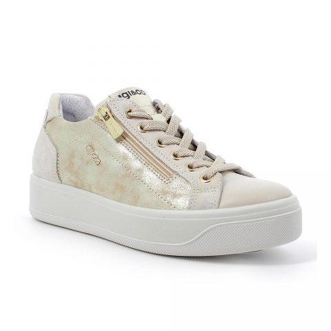 Sneaker Donna Igi&Co in Pelle Laminata Beige - 7156211