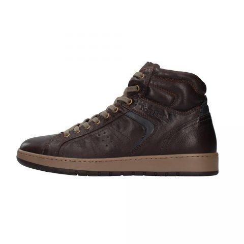 Sneaker Alta Uomo Nero Giardini in Pelle Marrone - I102190U300