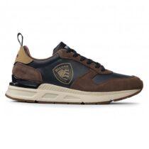 Sneaker Uomo Blauer Leather Suede Brown Navy - F1HILO03LESBRN
